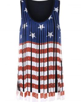 Patriotism American Flag Fringe Tank Top