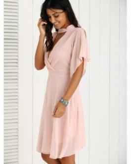 Petal Sleeve Knee Length Pleated Dresses