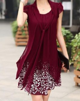 Petal Sleeve Tie Neck Dresses