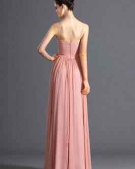 Pink Maxi Dress 2019 V Neck Chiffon Long Prom Dress For Women