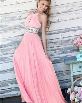 Pink Maxi Dress Backless Halter Beading Sash Chiffon Long Prom Dress For Women