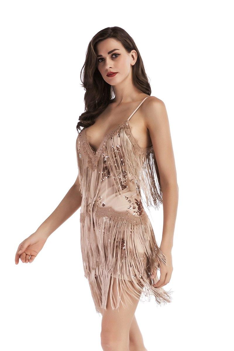 Pink Party Dress 1920s Flapper Dress Women Short Dress Strappy Sleeveless Backless Mini Dress With Tassels13