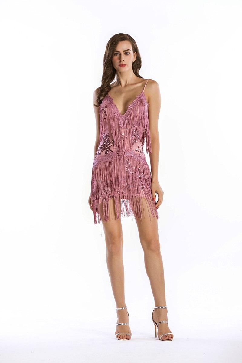 Pink Party Dress 1920s Flapper Dress Women Short Dress Strappy Sleeveless Backless Mini Dress With Tassels3 1