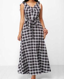 Plaid Belted V Neck Maxi Dresses