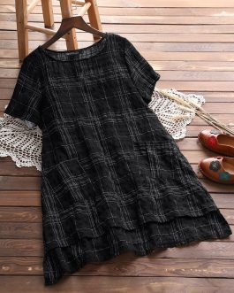 Plaid Short Sleeve Pocket Irregular Hem Shirts