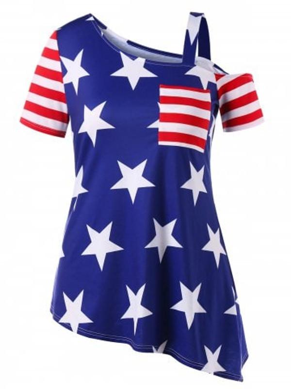 Plus Size American Flag Asymmetric T-shirt - Power Day Sale