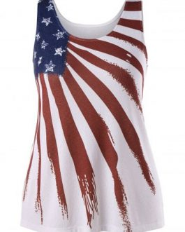Plus Size American Flag Graphic Tank Top