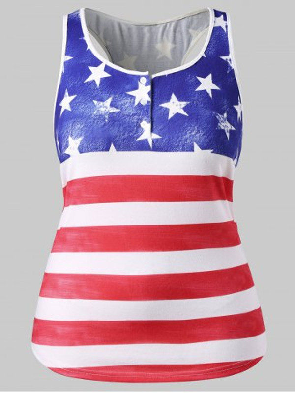 174d91daf14 Plus Size American Flag Patriotic Tank Top - Power Day Sale