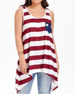 Plus Size Handkerchief Patriotic Tank Top