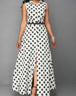 Polka Button Up Maxi Dresses