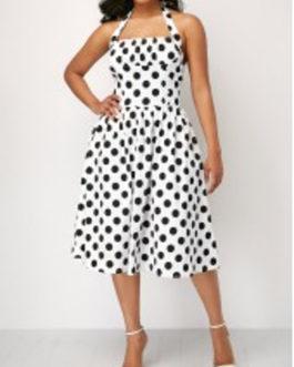 Polka Dot Halter Button Detail Dress