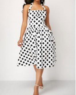 Polka Dot Halter Button Detail Dress