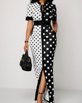 Polka Front Slit Maxi Dress
