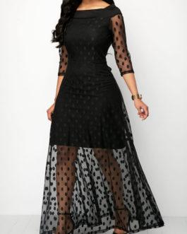Polka Mesh Maxi Dresses