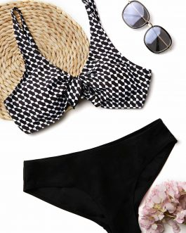 Printed Tie Front Bikini Set
