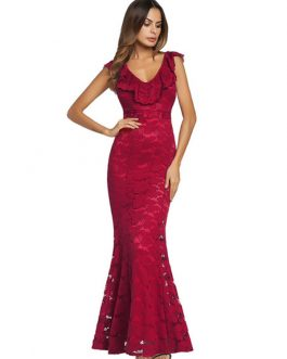 Red Lace Dress V Neck Sleeveless Ruffles Shaping Sexy Maxi Party Dress
