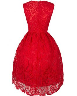 Red Lace Dress V Neck Sleeveless Shaping Midi Dress Women Party Dress