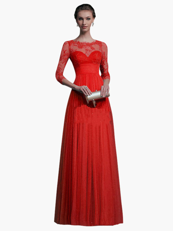 Red Maxi Dress Long Sleeve Lace Illusion Sweetheart Long Prom ...
