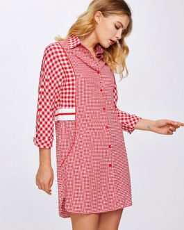 Red Shirt Dress Women Spread Collar Plaid Button Up Shift Dress
