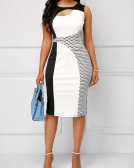 Round Neck Cutout Sleeveless Sheath Dresses