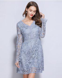 Sexy V neck Hollow Out Long Sleeve Slim Elegant Dress
