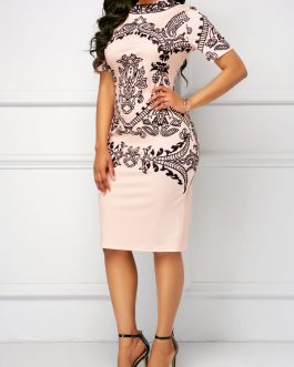 Short Sleeve Back Slit Sheath Dresses