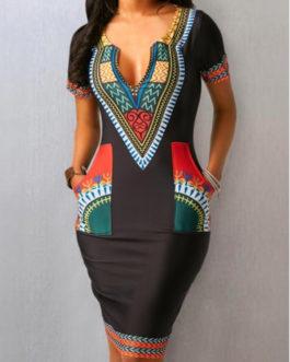 Short Sleeve Split Neck Pocket Dresses