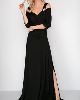 Side Slit Cold Shoulder Maxi Dresses