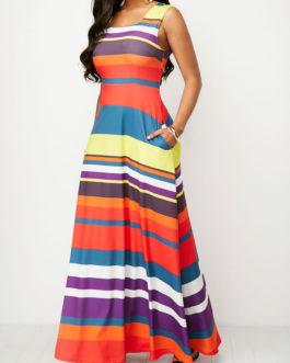 Sleeveless Pocket Round Neck Maxi Dresses