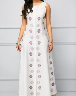 Sleeveless Tie Back Front Maxi Dresses