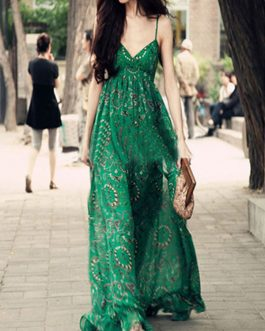 Sleeveless V-Neck Milk Silk Printed Woman's Maxi Dress