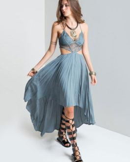 Slip Cutout Pleated High Low Boho Dresses