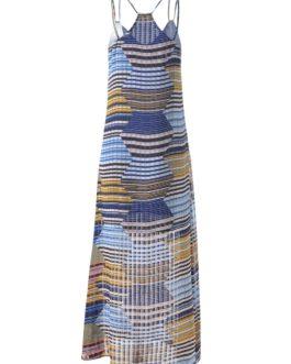 Spaghetti Strap Long Striped Dress