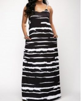 Spaghetti Strap Scoop Striped Maxi Dress