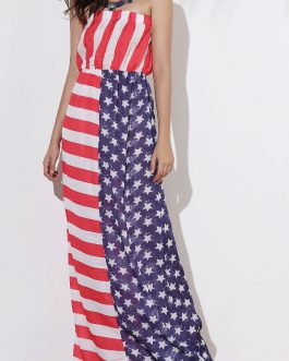 Strapless Patriotic American Flag Maxi Bandeau Dresses