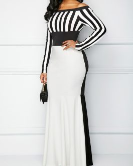 Striped Long Sleeve Bardot Mermaid Dress