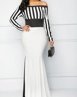 Striped Long Sleeve Bardot Mermaid Dresses