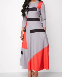 Three Quarter Sleeve Pocket Maxi Dress
