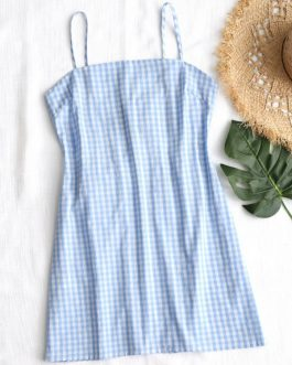 Tie Gingham Cut Out Mini Dresses