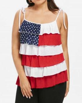 Tiered Patriotic American Flag Tank Top