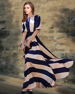Two-Tone Maxi Dress With Stripes Print Cotton Satin for Women