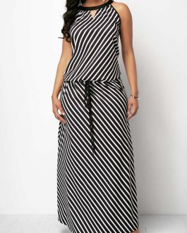 V Cutout Drawstring Waist Striped Maxi Dress