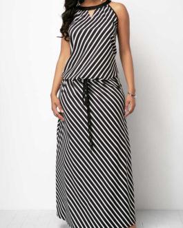 V Cutout Drawstring Waist Striped Maxi Dress