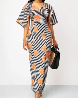 V Neck Cape Sleeve Striped Maxi Dresses