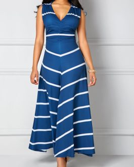 V Neck Cutout Back Maxi Dresses