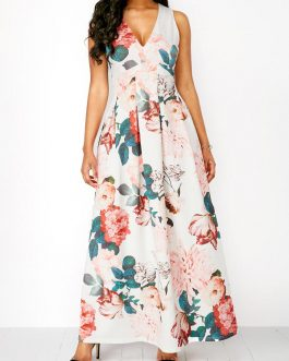 V Neck Flower Sleeveless Maxi Dresses