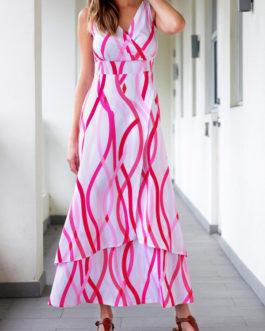 V Neck High Waist Layered Dresses