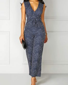 V Neck High Waist Printed Sleeveless Jumpsuit