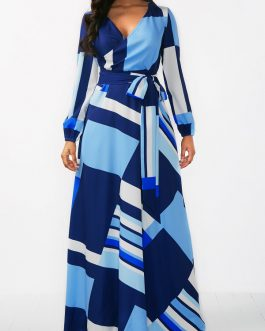 V Neck Long Sleeve Maxi Dresses