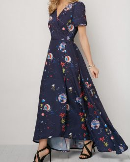 V Neck Pocket Maxi Dresses